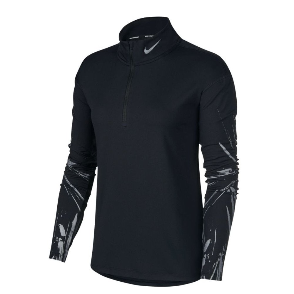 nike element flash 1/2-zip w czarno-srebrna