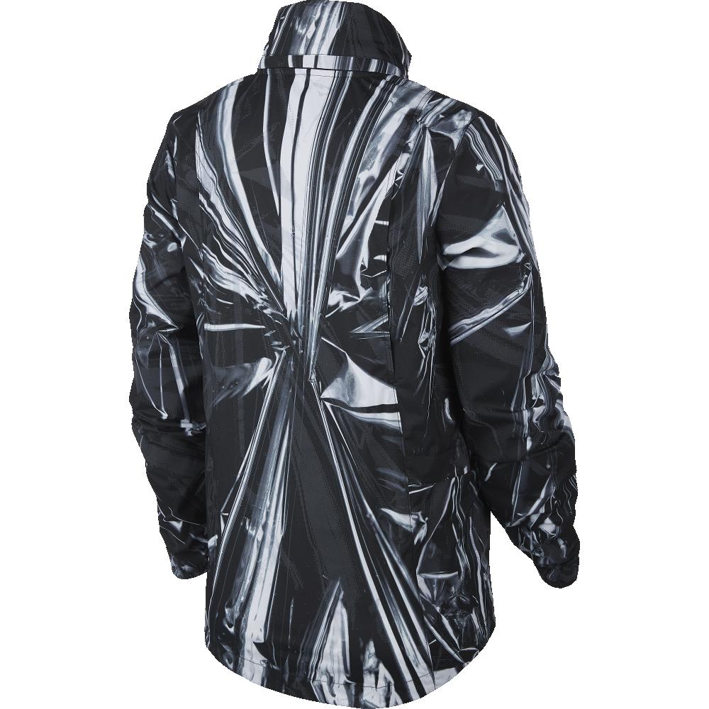 nike shield printed running jacket w czarno-srerbna