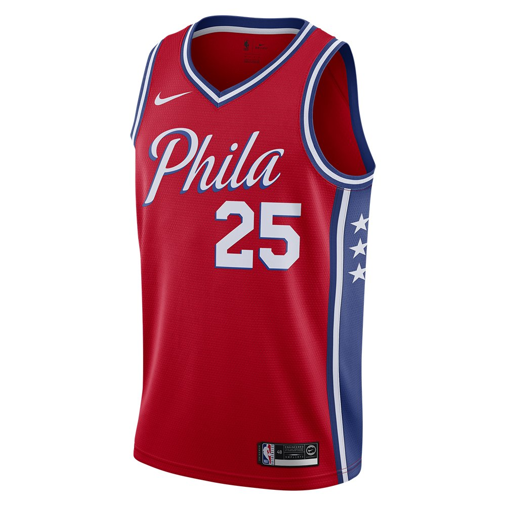 nike nba  philadelphia 76ers swingman jersey ben simmons #25 (at9812-658)
