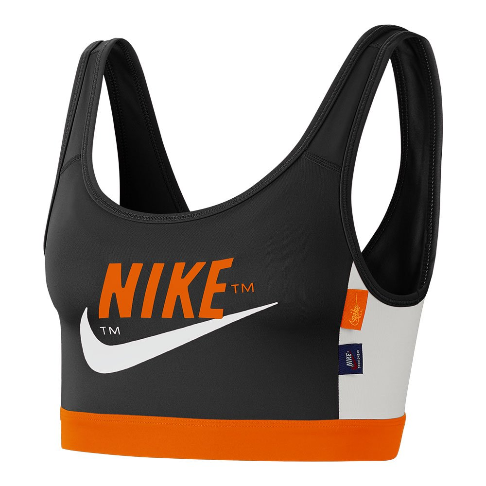 nike swoosh icon clash medium-support sports bra czarno-pomarańczowy