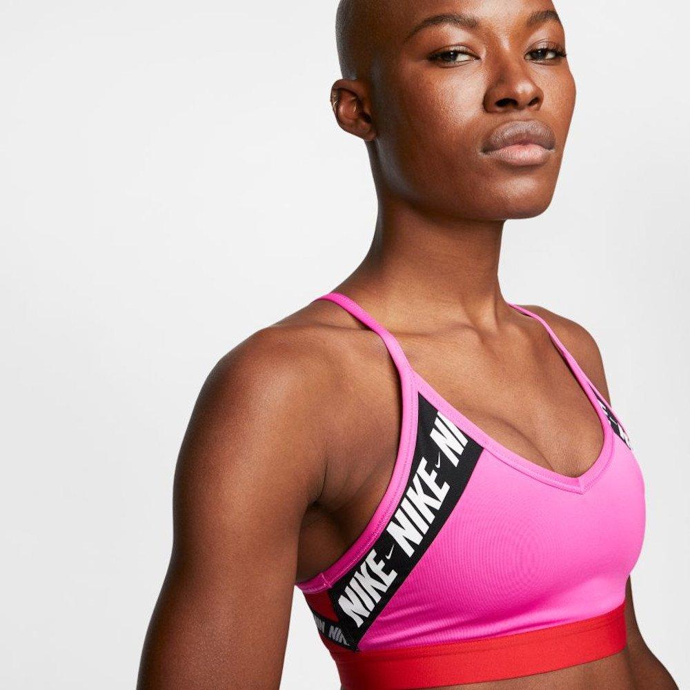 nike indy light-support logo sports bra różowo-pomarańczowy
