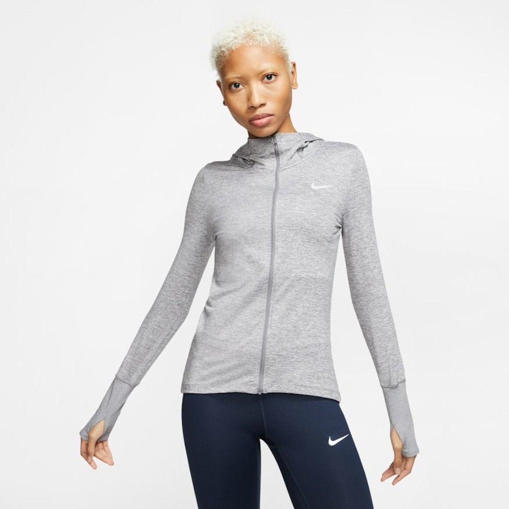nike element full-zip running hoodie w szara