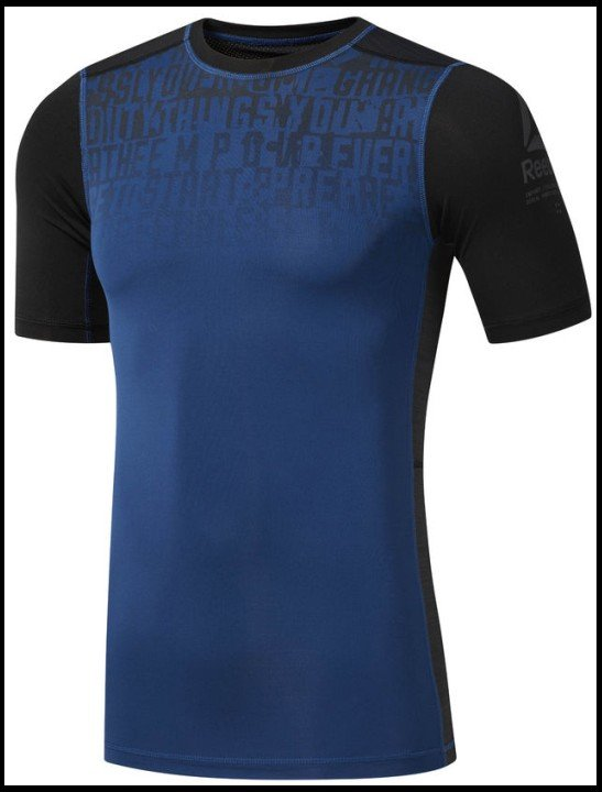 reebok activechill graphic compresion tee blue / black