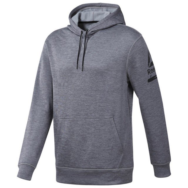 reebok workout thermowarm hoodie medium grey heather