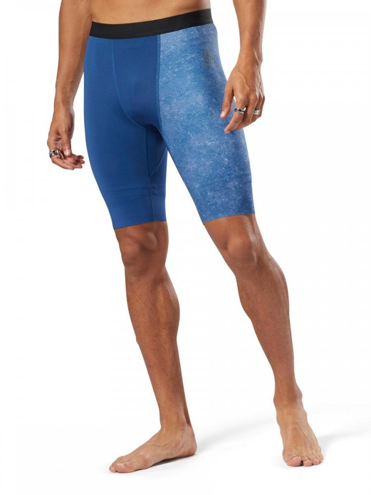 spodenki reebok m rc compression short blu/b