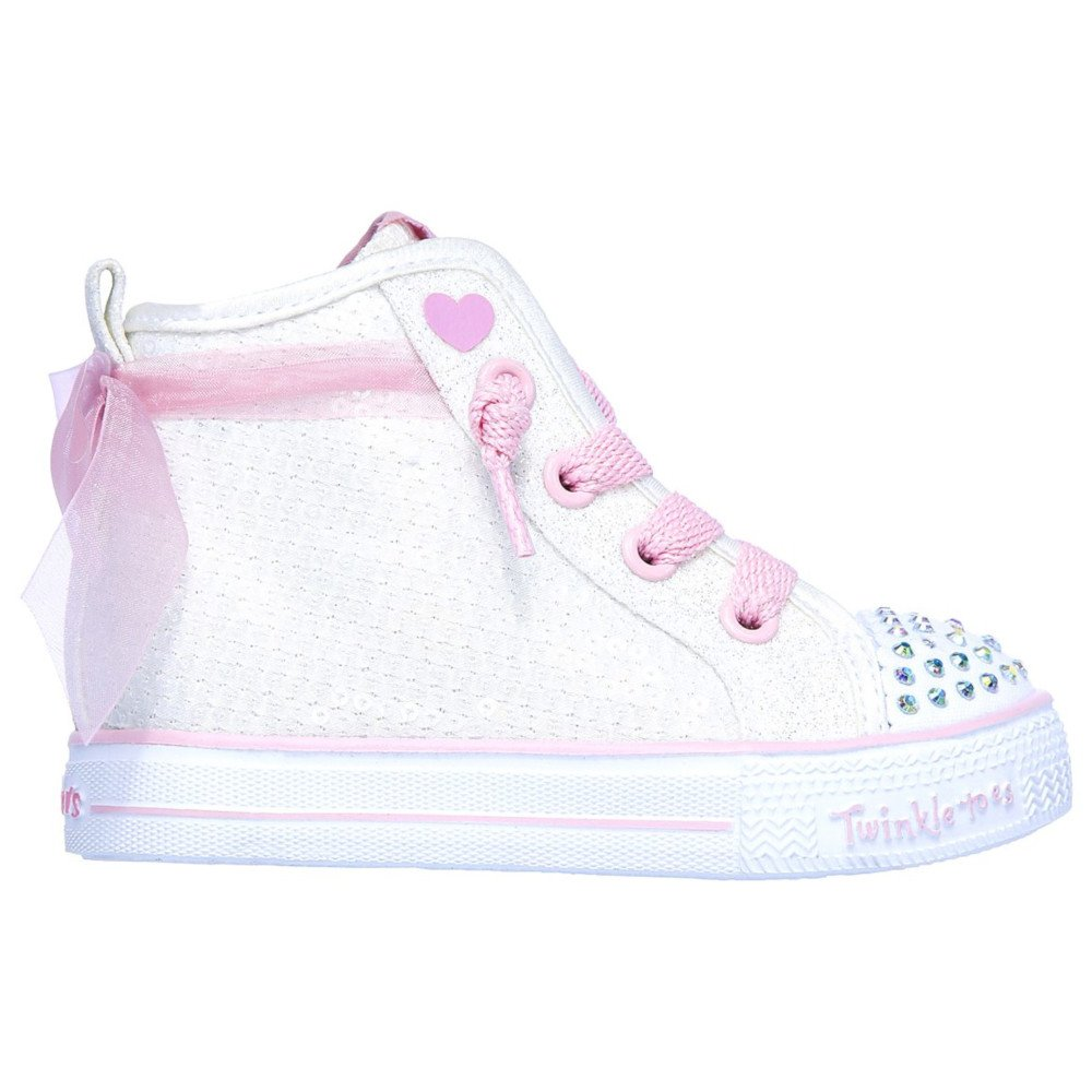 skechers shuffle lite-sparkle beauty różowo-białe
