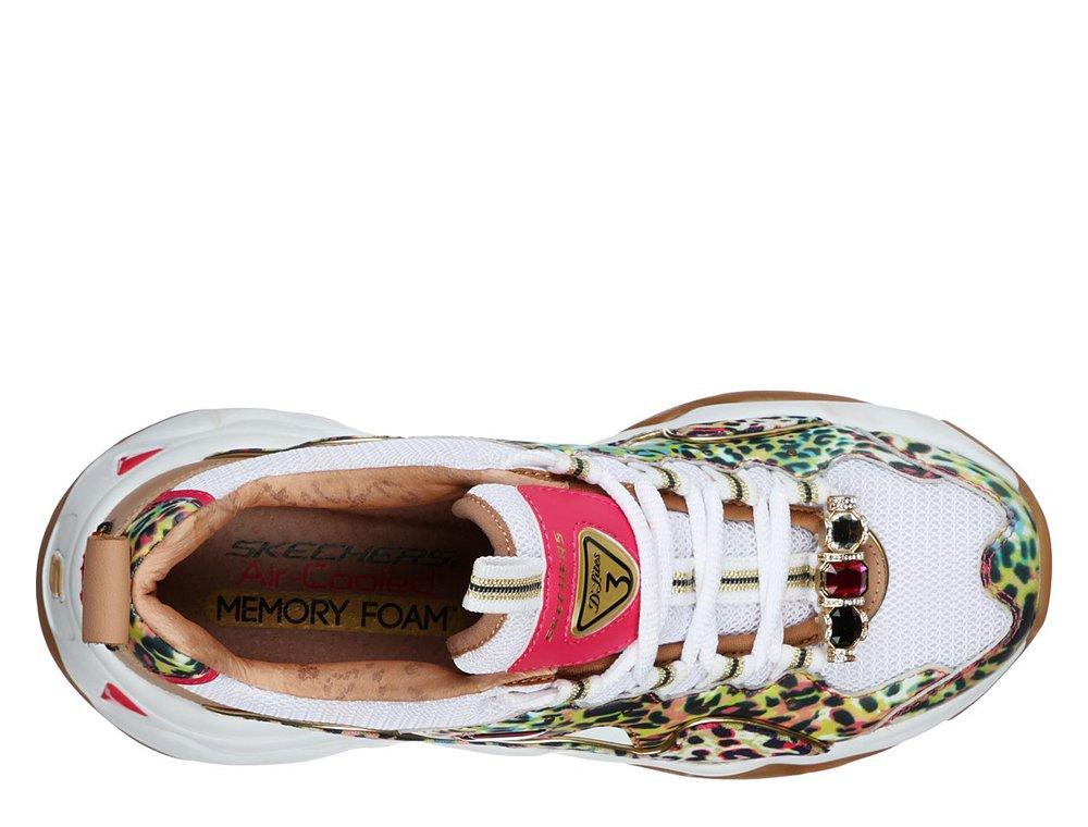 skechers d'lites 3 premium heritage cheetah queen damskie białe(149109-wmlt)