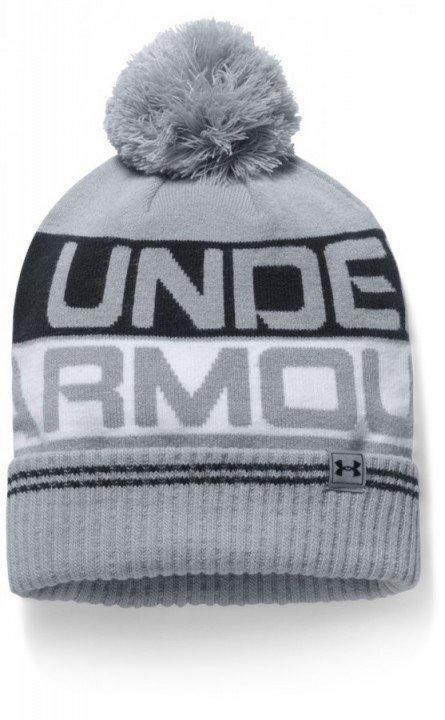 under armour men's retro pom beanie 2.0 gray black