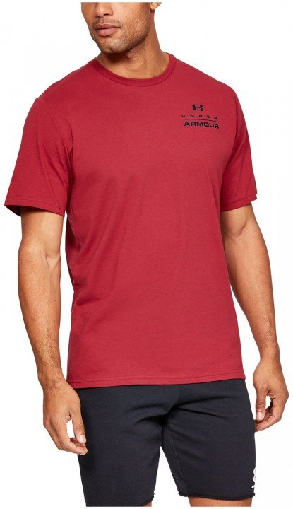 under armour ua stacked left chest short sleeve red