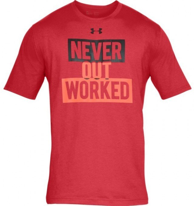 under armour ua never out worked short sleeve black red