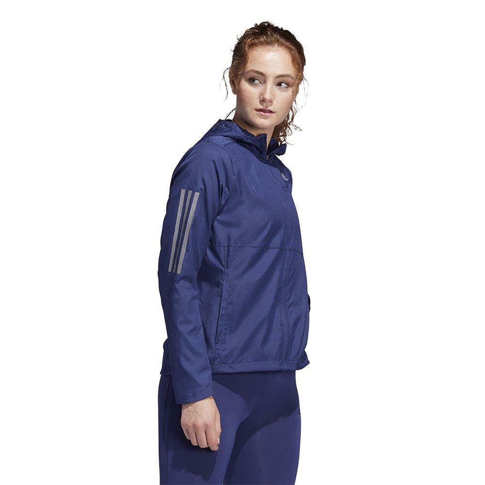 adidas own the run hooded wind jacket w granatowa