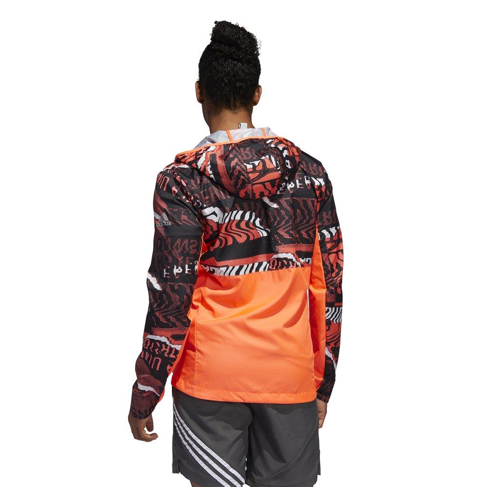 adidas own the run graphic jacket m pomarańczowa