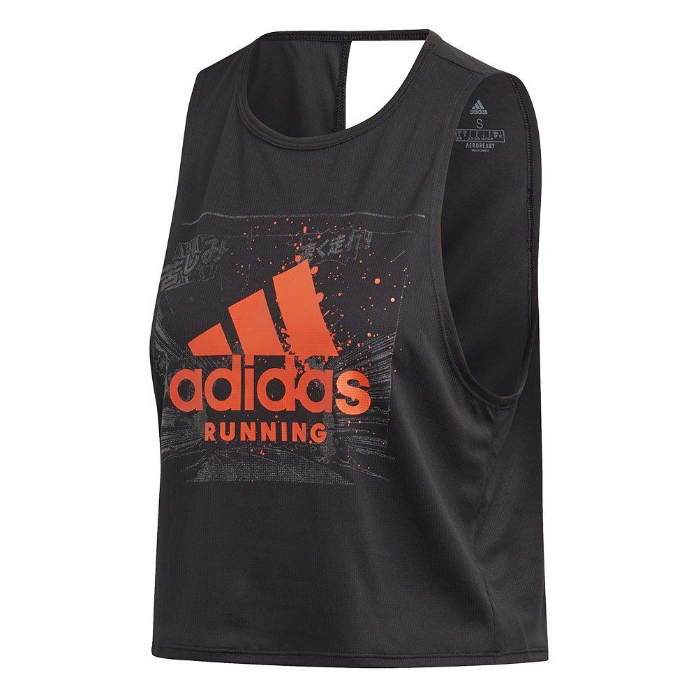 adidas fast graphic crop tee w czarna