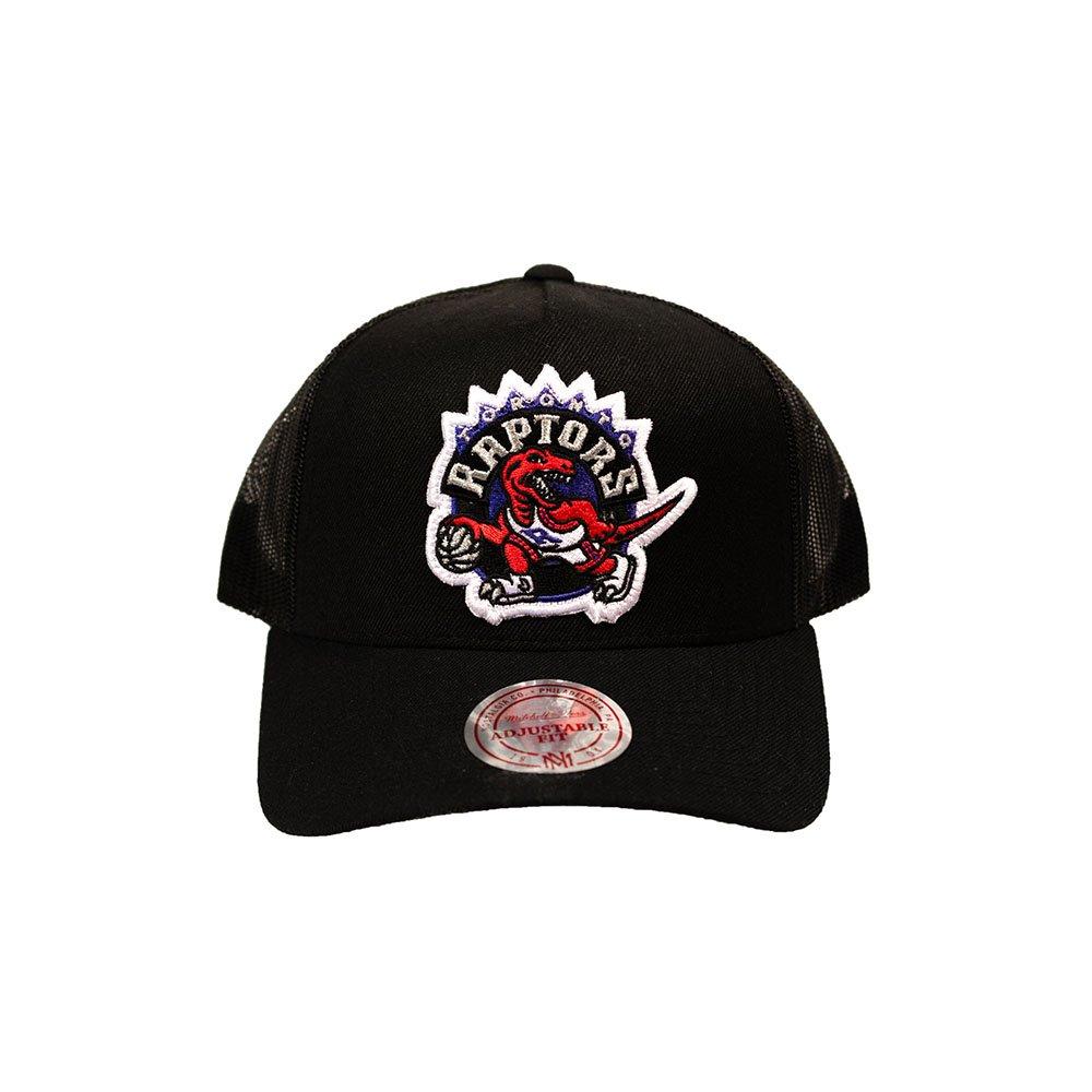 mitchell & ness team logo flex trucker snapback raptors (intl602-torrap-blk)