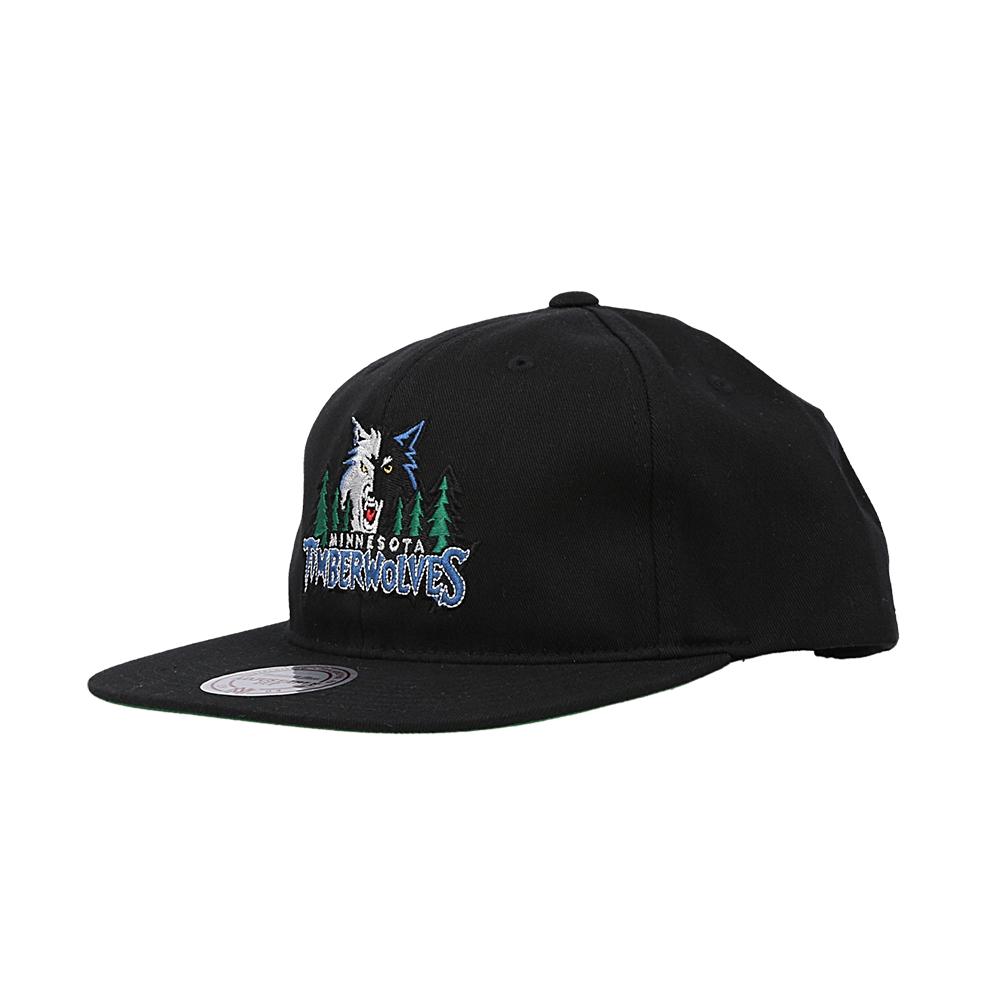 mitchell & ness team logo snapback timberwolves (intl462-mintim-blk)