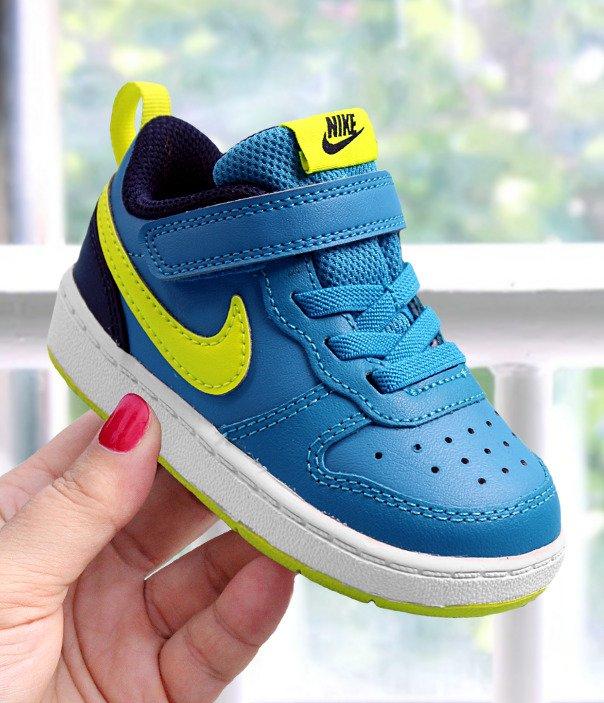 nike court borough low 2 (tdv) niebiesko-żółte