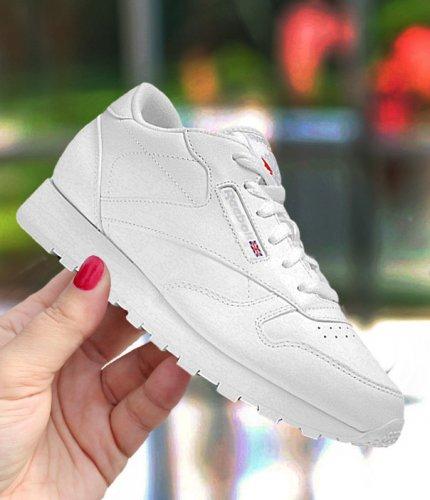 "reebok classic leather ""white"" junior białe"
