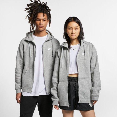 nike sportswear m hoodie full zip fleece club szara