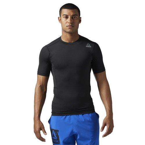 reebok workout ready short sleeve compression tee czarna