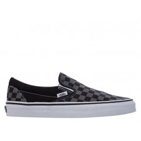 vans classic slip‑on black/pewter checkerboard