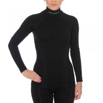 bluza brubeck damska wool czarny (ls11930‑czarny)