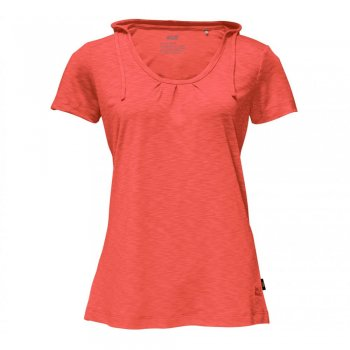 koszulka  jack wolfskin travel hoody t women hot coral
