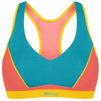 stanik shock absorber padded pump sport bra niebiesko-pomarańczowy