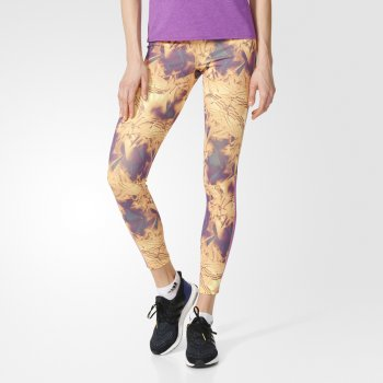 legginsy adidas supernova all-over print long tights w fioletowo-Żółte
