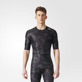 koszulka adidas techfit chill print tee m szaro-czarna