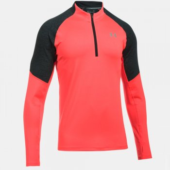 bluza under armour threadborne run quarter zip m czarno-koralowa
