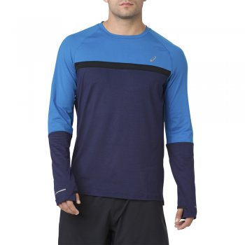 bluza asics thermopolis plus long sleeve shirt top m granatowo-niebieska