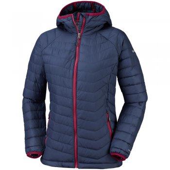 kurtka columbia powder lite hooded jacket w niebiesko-granatowa