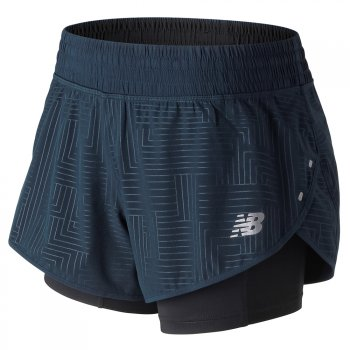 spodenki new balance 4 inch printed impact shorts w czarno-granatowe