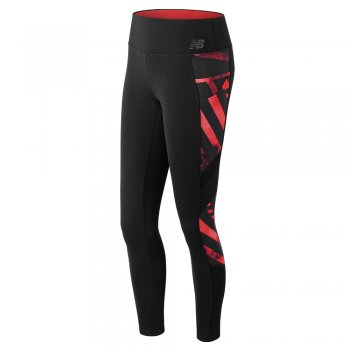 legginsy new balance transform luxe tight w czerwono-czarne