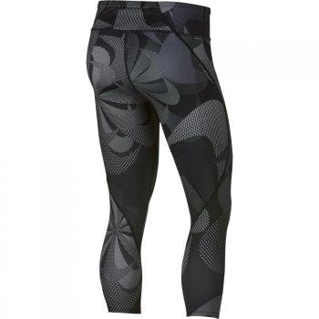 spodnie nike epic lux 3/4 printed jdi crops w czarno-szare