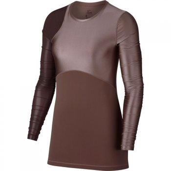bluzka nike pro hypercool glamour long-sleeve training top w fioletowo-różowy