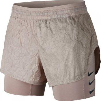 spodenki nike elevate 2-in-1 shorts w szaro-beżowe