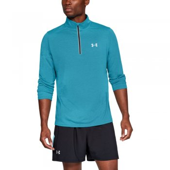 bluza under armour threadborne streaker 1/4 zip m turkusowo-niebieska