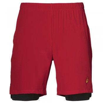 spodenki asics 2-n-1 7 inch short m czarno-czerwone