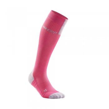 skarpety cep run compression socks 3.0 w szaro-różowe
