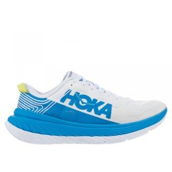 buty hoka carbon x w niebiesko-białe