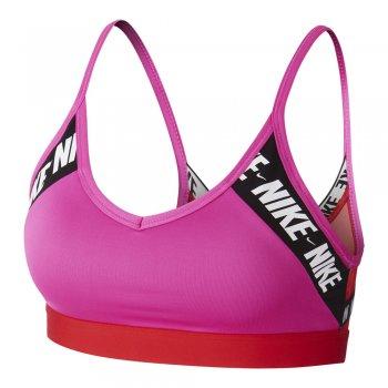 stanik nike indy light-support logo sports bra różowo-pomarańczowy