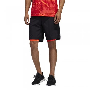 spodenki adidas own the run 2in1 m czarno-pomarańczowe