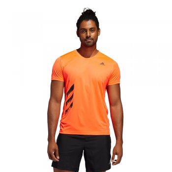 koszulka adidas run it 3-stripes pb tee m pomarańczowa