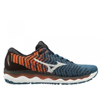 buty mizuno wave sky waveknit 3 m niebiesko-pomarańczowe