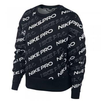nike pro fleece crew print w czarna