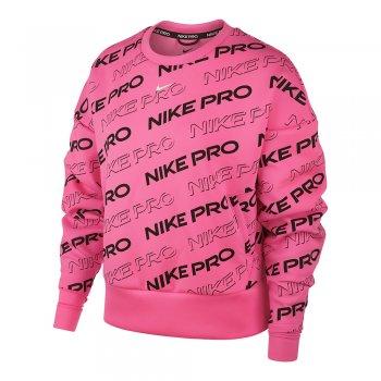bluza nike pro fleece crew print w różowa